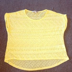 Forever 21 yellow Aztec crop top small